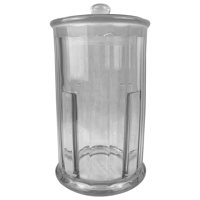 Apothecary Jar with Cover made for John Hood Co., Boston by Heisey Glass For Sale