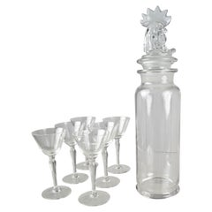 Heisey Glass Cocktail Shaker and Glasses