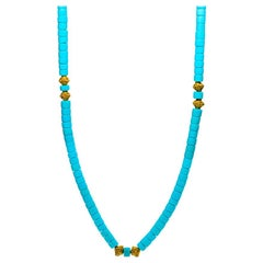 Heishi Turquoise Bead Necklace, 20kt Yellow Gold
