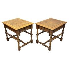 Hekman French Country English Jacobean Oak Burlwood Lamp End Tables, a Pair