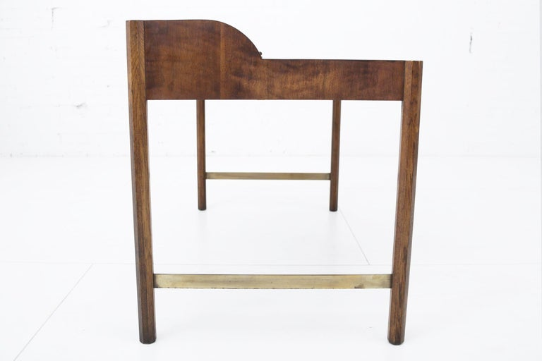 Hekman Walnut and Brass Roll Top Writing Desk In Good Condition In Chicago, IL