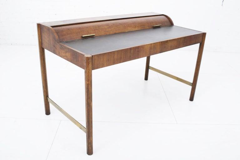 20th Century Hekman Walnut and Brass Roll Top Writing Desk