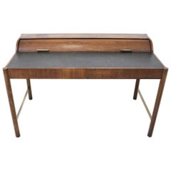 Hekman Walnut and Brass Roll Top Writing Desk