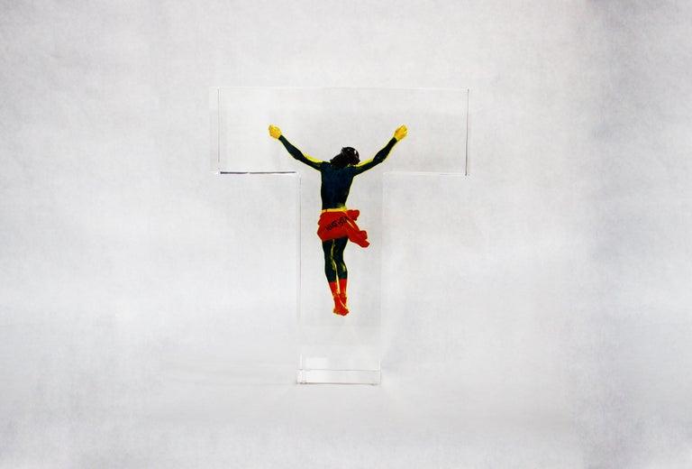 Superman Jesus  - Pop Art Sculpture by Helder Batista
