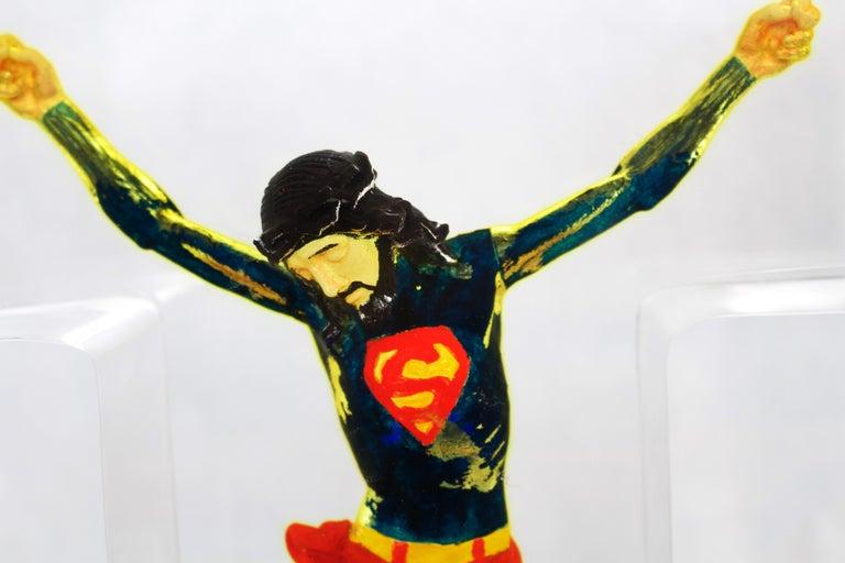 Superman Jesus  - Gray Figurative Sculpture by Helder Batista