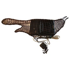 """TV Bird"" Contemporary Wire Grackle Bird Sculptures with RCV Pocket TV"