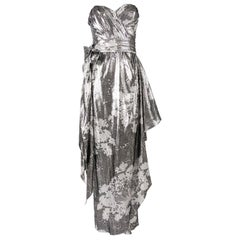 Helen Anderson Vintage Silver Strapless Silk Lamé Evening Gown, 1980s