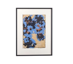 Blue Violet - Abstract Expressionist Mixed Media (Blue + Black + Sienna + Cream)