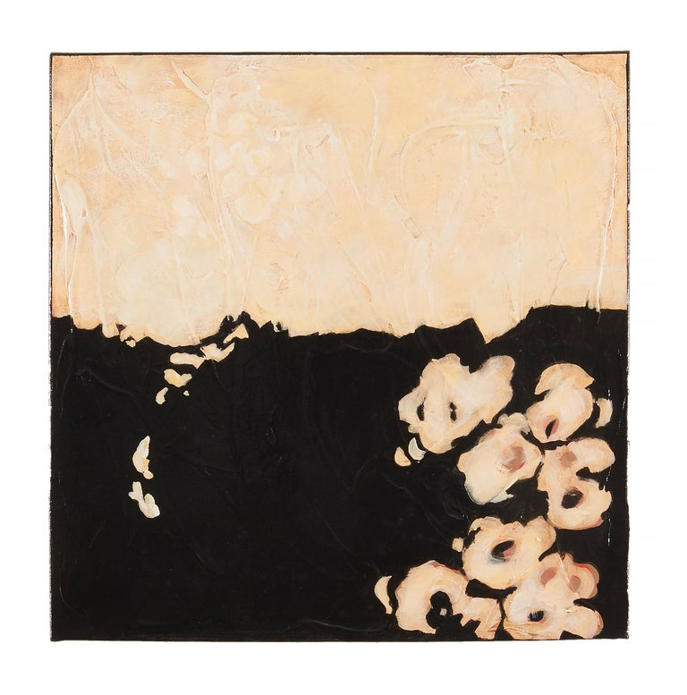 Legends Diptych - Floral Contemporary Abstraction with Black and Cream - Painting by Helen Bellaver