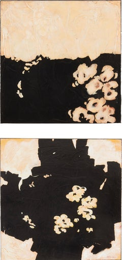 Legends Diptych - Floral Contemporary Abstraction with Black and Cream