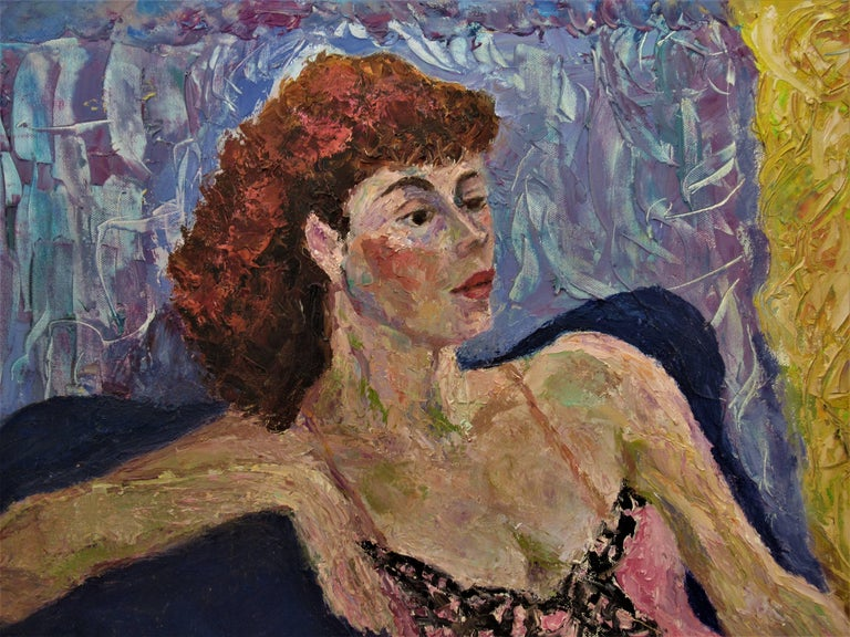 Untitled, Woman posing - Painting by Helen Director