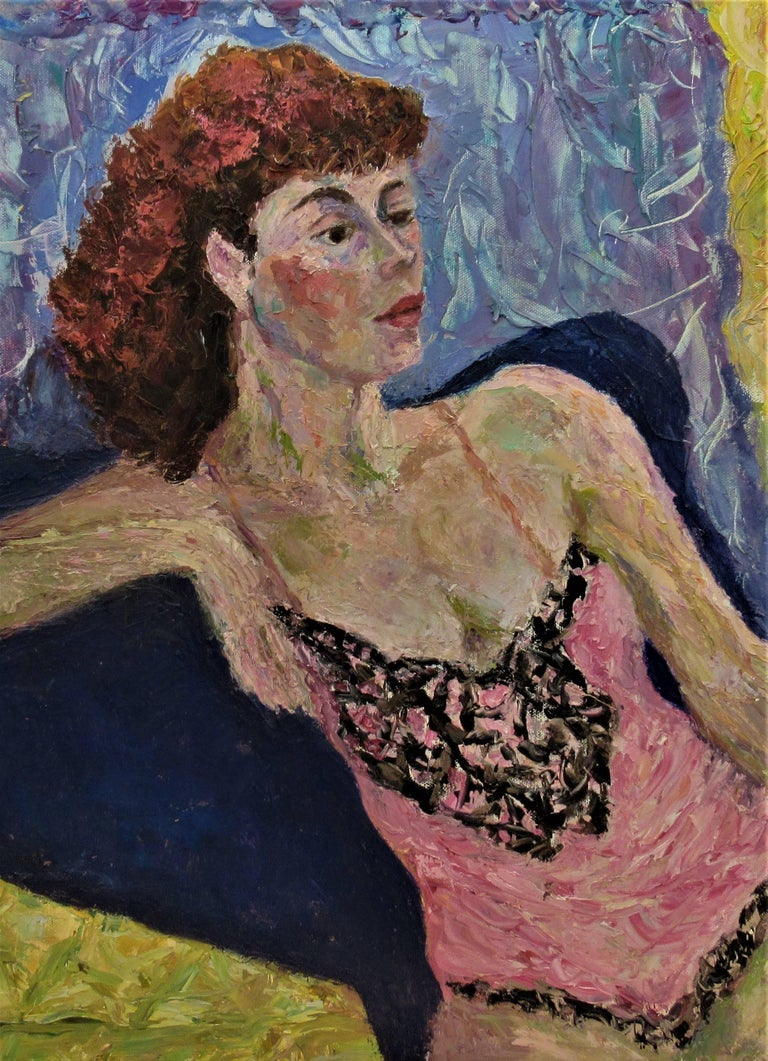 Untitled, Woman posing - Impressionist Painting by Helen Director
