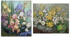 Bearded Iris Still Life/Daffodils and Teapot  (2-sided painting)