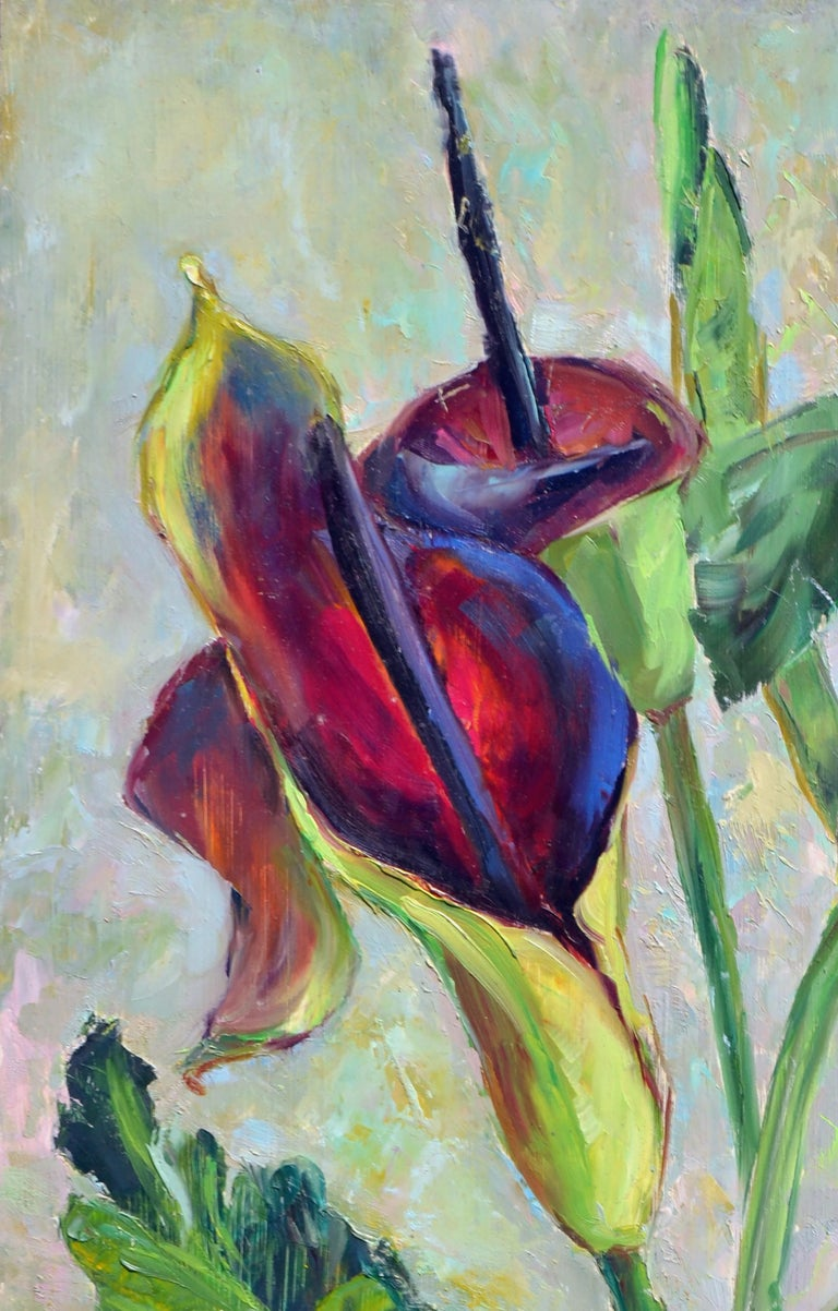 Mid Century Burgundy Calla Lilies - American Impressionist Painting by Helen Enoch Gleiforst