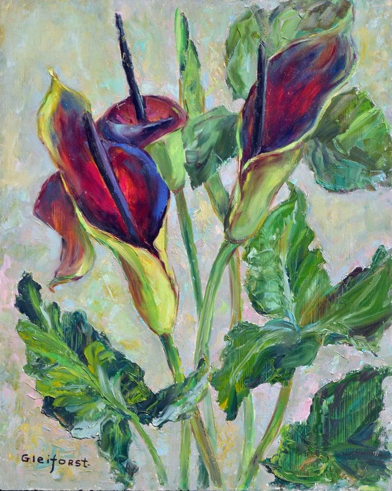 Helen Enoch Gleiforst Still-Life Painting - Mid Century Burgundy Calla Lilies