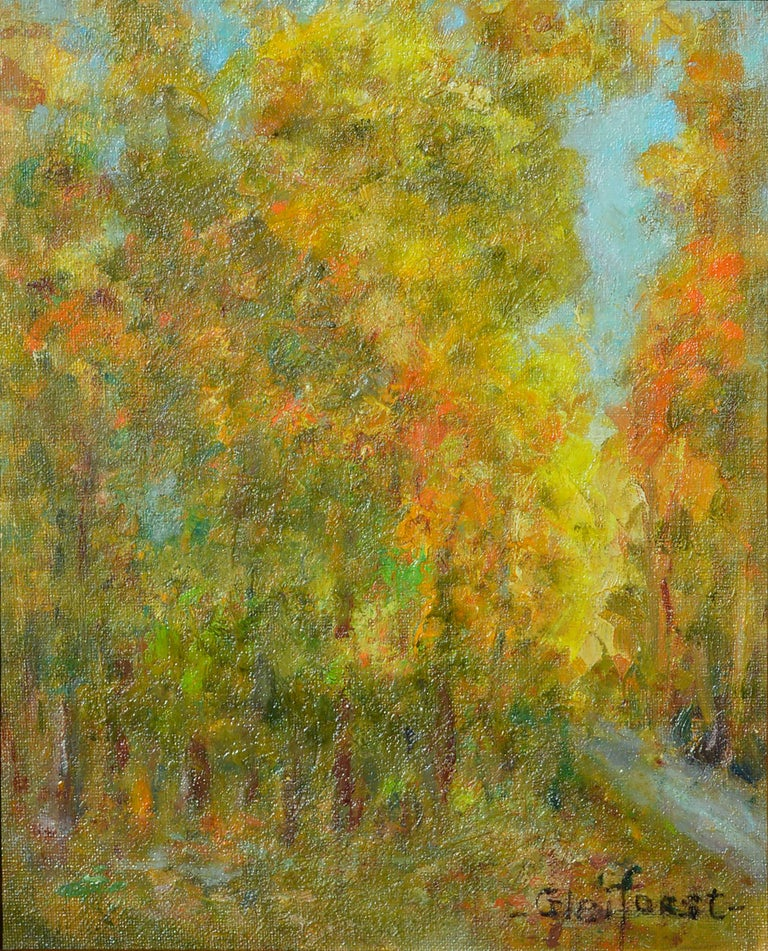 Mid Century Autumn Trees Landscape  - Painting by Helen Enoch Gleiforst