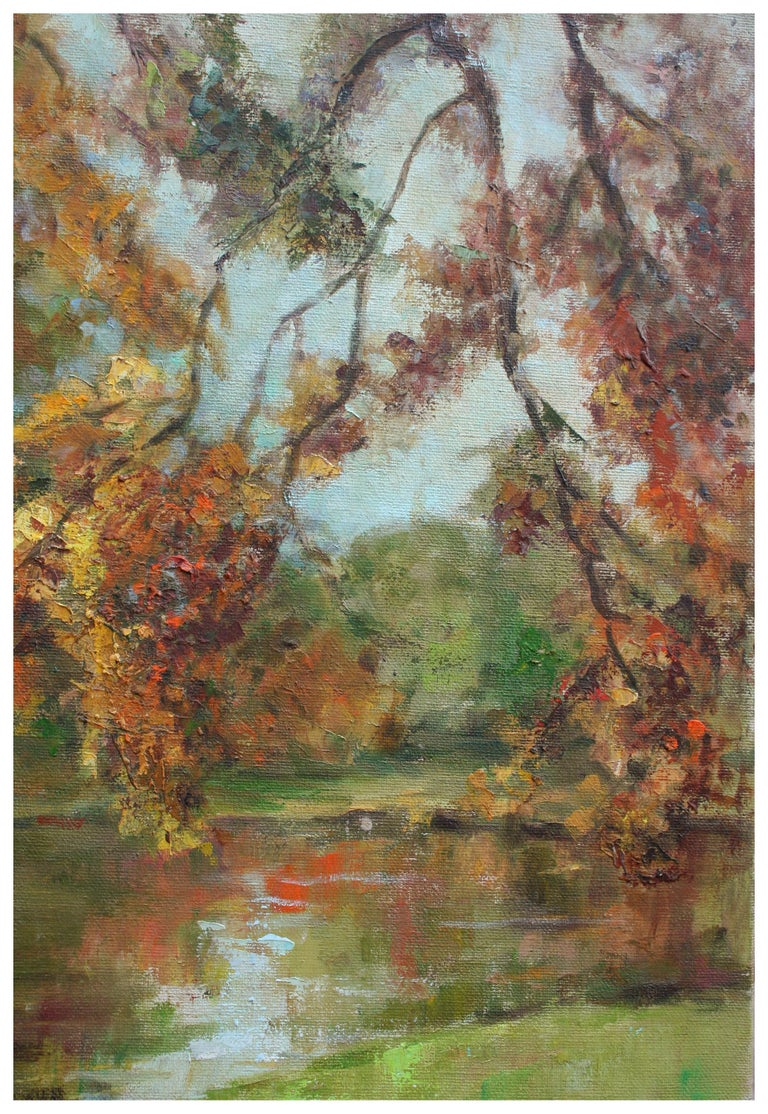 Mid Century Autumn Trees Landscape - Painting by Helen Enoch Gleiforst