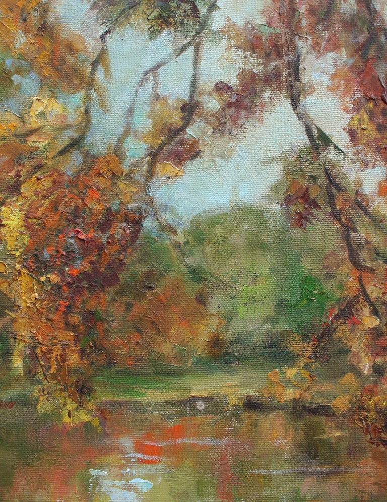 Mid Century Autumn Trees Landscape - American Impressionist Painting by Helen Enoch Gleiforst