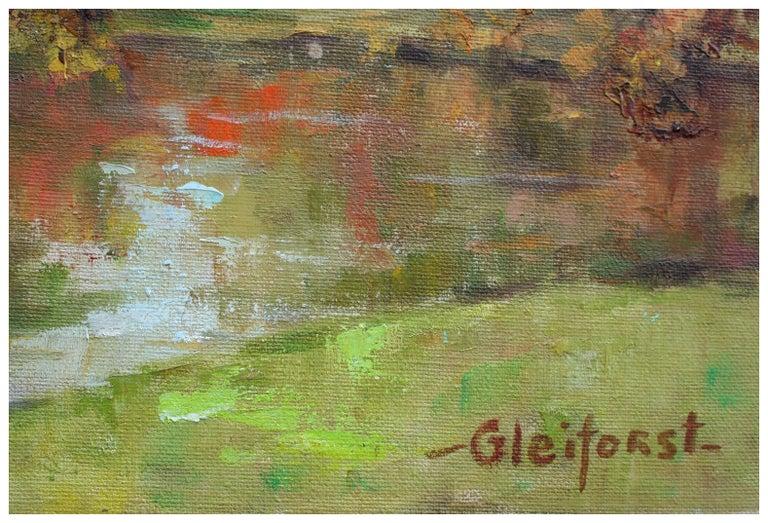 Mid Century Autumn Trees Landscape - Brown Landscape Painting by Helen Enoch Gleiforst