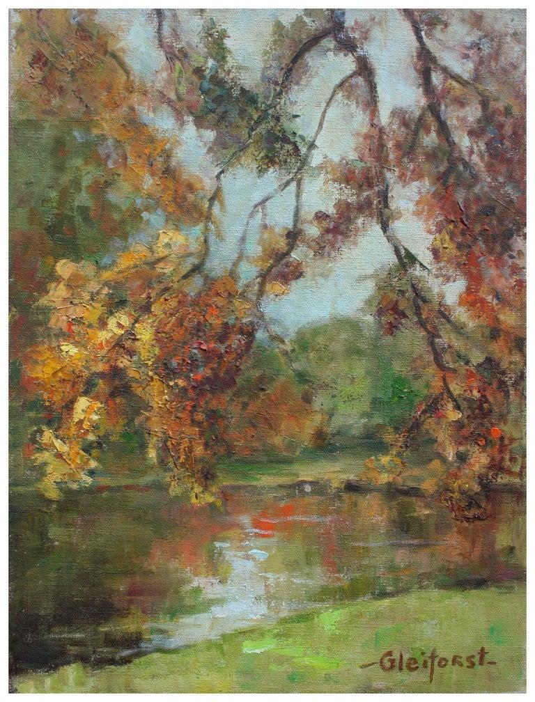 Helen Enoch Gleiforst Landscape Painting - Mid Century Autumn Trees Landscape