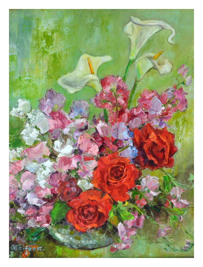 Mid Century Roses & Sweet Peas Still Life - Painting by Helen Enoch Gleiforst
