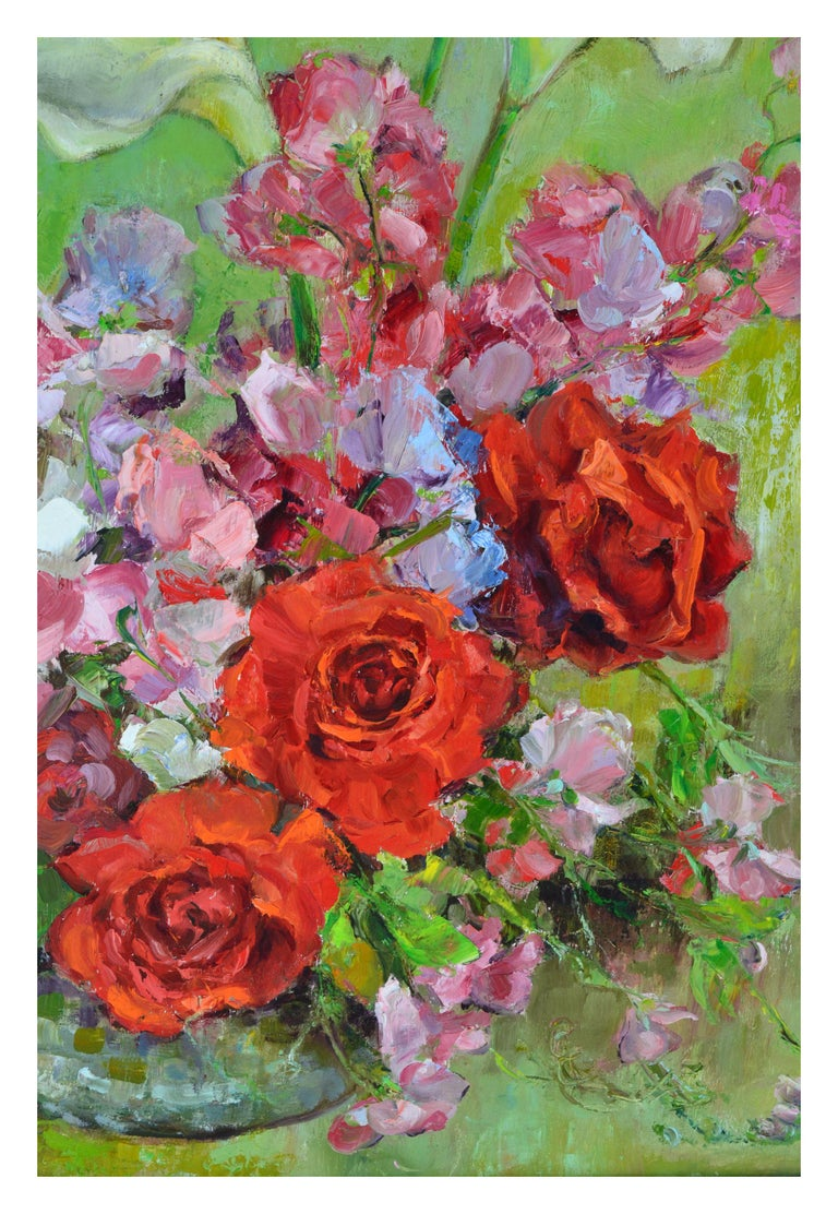 Mid Century Roses & Sweet Peas Still Life - American Impressionist Painting by Helen Enoch Gleiforst