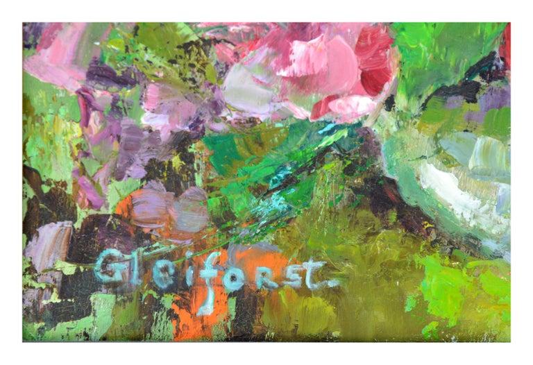 Mid Century Roses & Sweet Peas Still Life - Brown Still-Life Painting by Helen Enoch Gleiforst