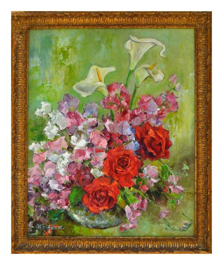 Helen Enoch Gleiforst Still-Life Painting - Mid Century Roses & Sweet Peas Still Life