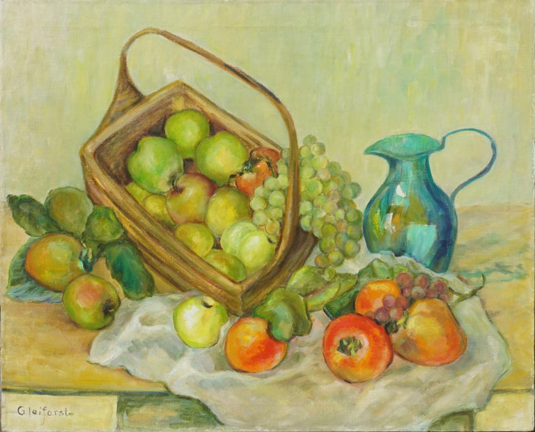 Mid Century Turquoise Pitcher and Fruit Basket Still Life  - Painting by Helen Enoch Gleiforst