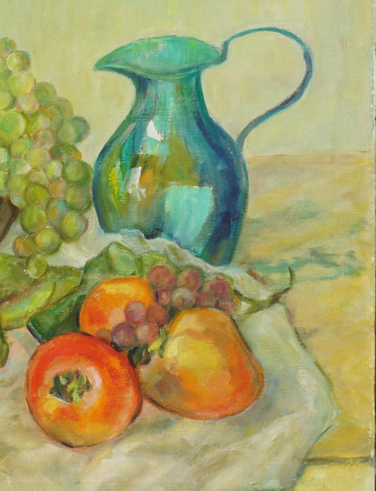 Mid Century Turquoise Pitcher and Fruit Basket Still Life  - Brown Still-Life Painting by Helen Enoch Gleiforst
