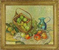 Mid Century Turquoise Pitcher & Fruit Basket Still Life