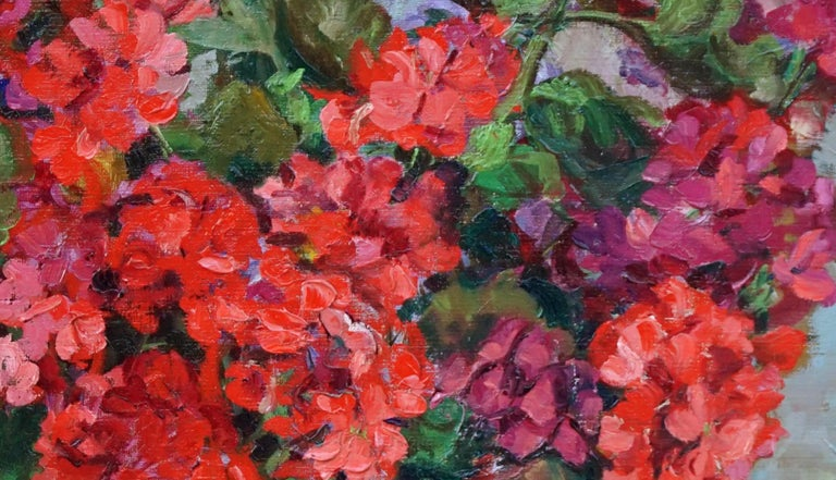Red Geraniums in Copper Cache Pot w/Hall Water Pitcher - Painting by Helen Enoch Gleiforst