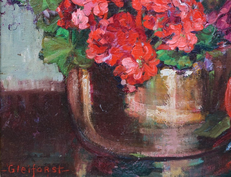 Red Geraniums in Copper Cache Pot w/Hall Water Pitcher - American Impressionist Painting by Helen Enoch Gleiforst