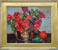 Red Geraniums in Copper Cache Pot w/Hall Water Pitcher