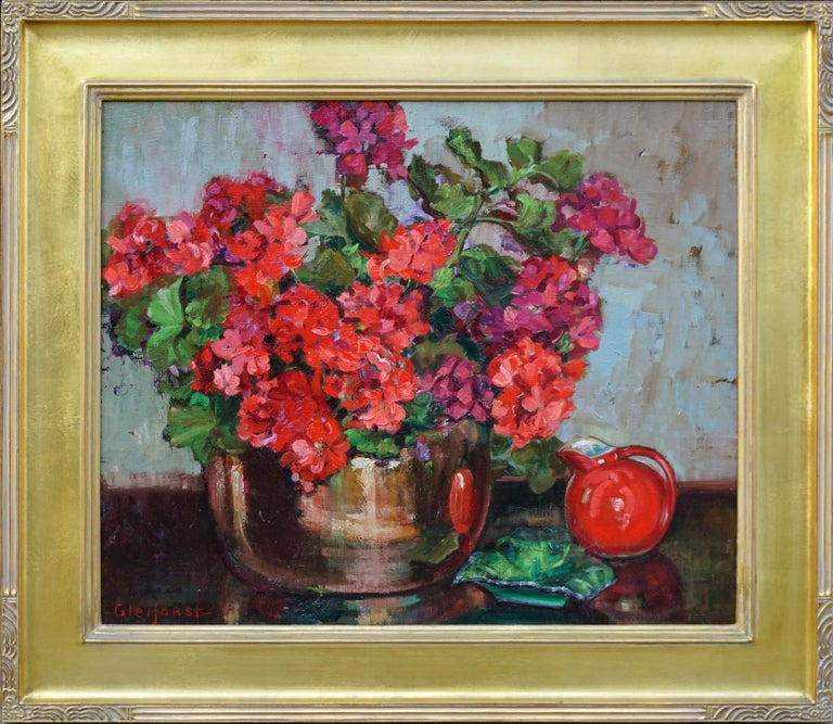 Helen Enoch Gleiforst Still-Life Painting - Red Geraniums in Copper Cache Pot w/Hall Water Pitcher