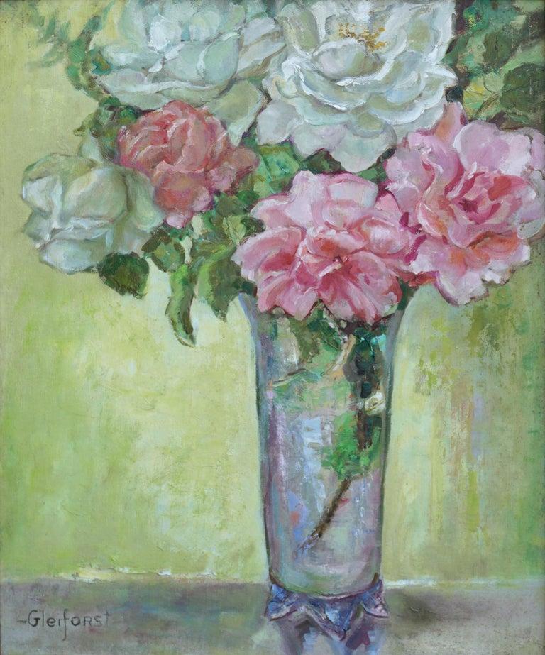 Roses in Crystal Vase Still Life - Painting by Helen Enoch Gleiforst