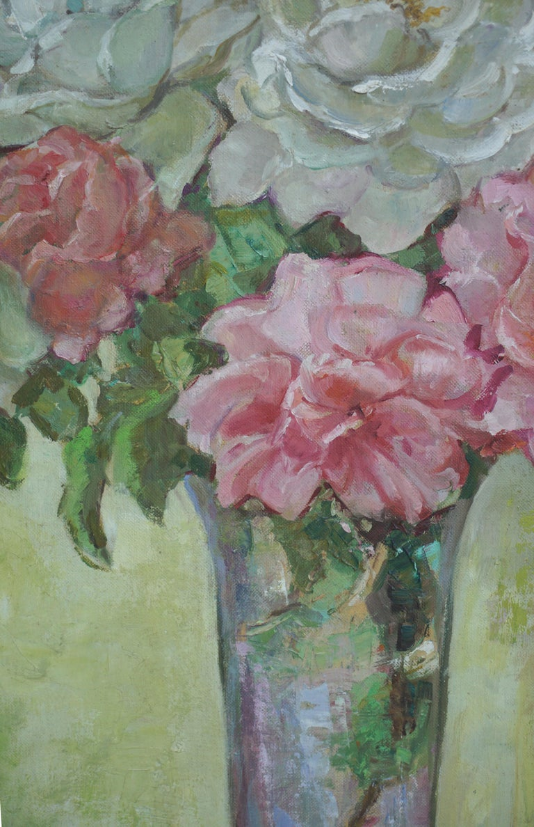 Roses in Crystal Vase Still Life - American Impressionist Painting by Helen Enoch Gleiforst