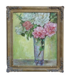 Roses in Crystal Vase Still Life
