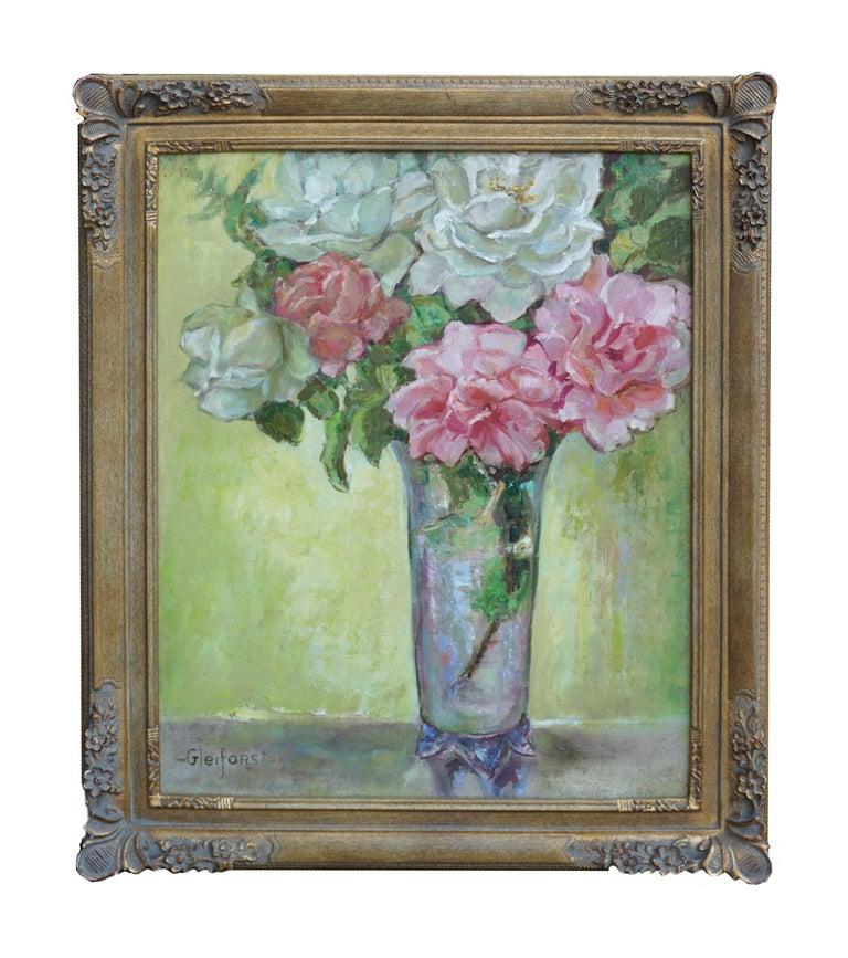 Helen Enoch Gleiforst Interior Painting - Roses in Crystal Vase Still Life