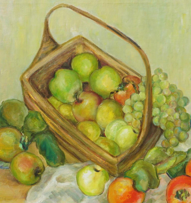 Mid Century Turquoise Pitcher & Fruit Basket Still Life  - Painting by Helen Enoch Gleiforst