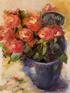 Roses pour L'Amour by Helen Farson, Petite Impressionist Still-Life Oil Painting