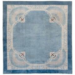 Helen Fette's Art Deco Era Chinese Peking Large Room Size Peacock Carpet in Blue