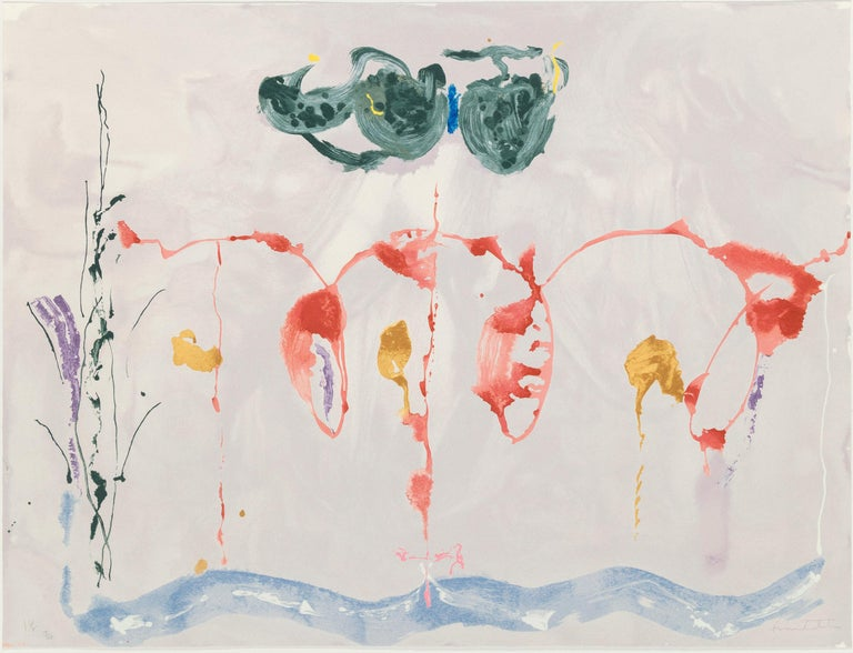 Helen Frankenthaler 'Aerie' Limited Edition Abstract Expressionist Print - Gray Abstract Print by Helen Frankenthaler