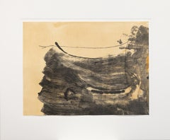 """Ochre Dust"" Aquatint, Lithograph, Black, Ochre, Pencil Signed"