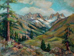 Mid Century Sierra Mountains and Redwoods Landscape