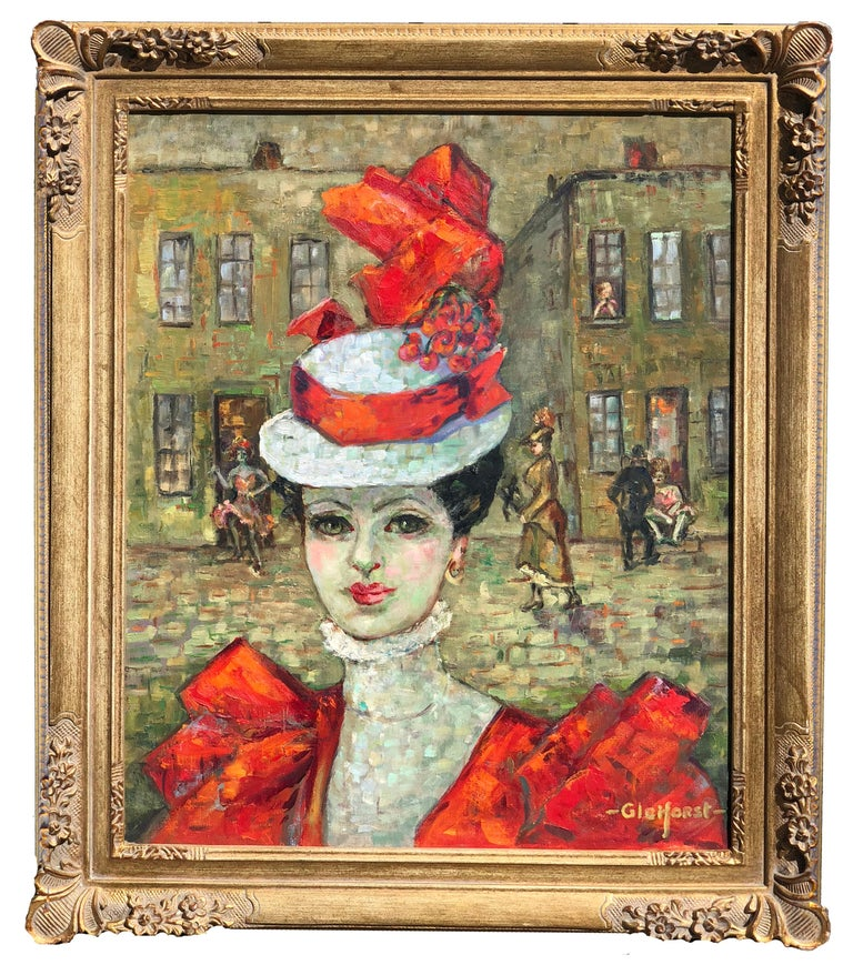 Compelling portrait of a beautiful woman wearing a red hat and dress with a Paris city scene in the background. By Helen Gleiforst (American,1903-1997), circa 1960. Signed lower right corner
