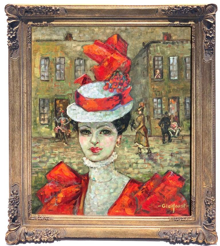 Helen Enoch Gleiforst Figurative Painting - Lady in Red Hat, Paris