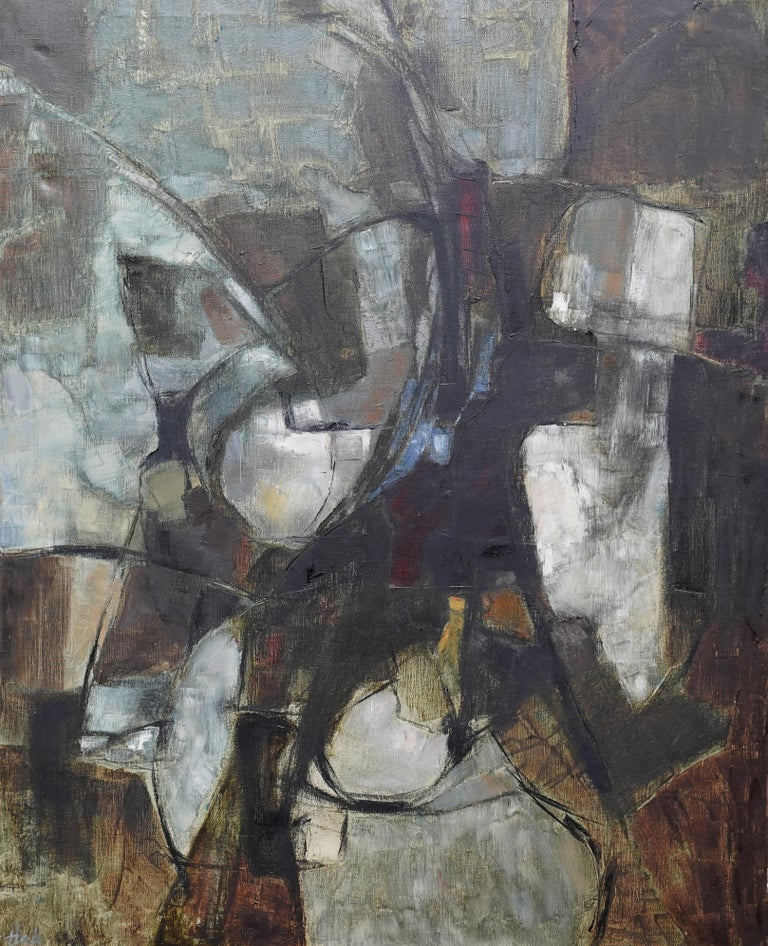 Mistrel - British Abstract Expressionist art 1960's exhibited oil painting For Sale 11