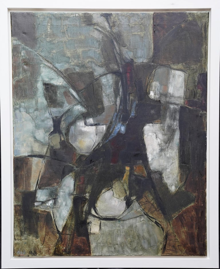 Mistrel - British Abstract Expressionist art 1960's exhibited oil painting For Sale 12
