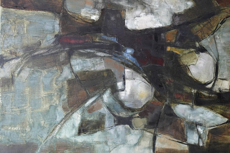 Mistrel - British Abstract Expressionist art 1960's exhibited oil painting - Gray Abstract Painting by Helen Hale